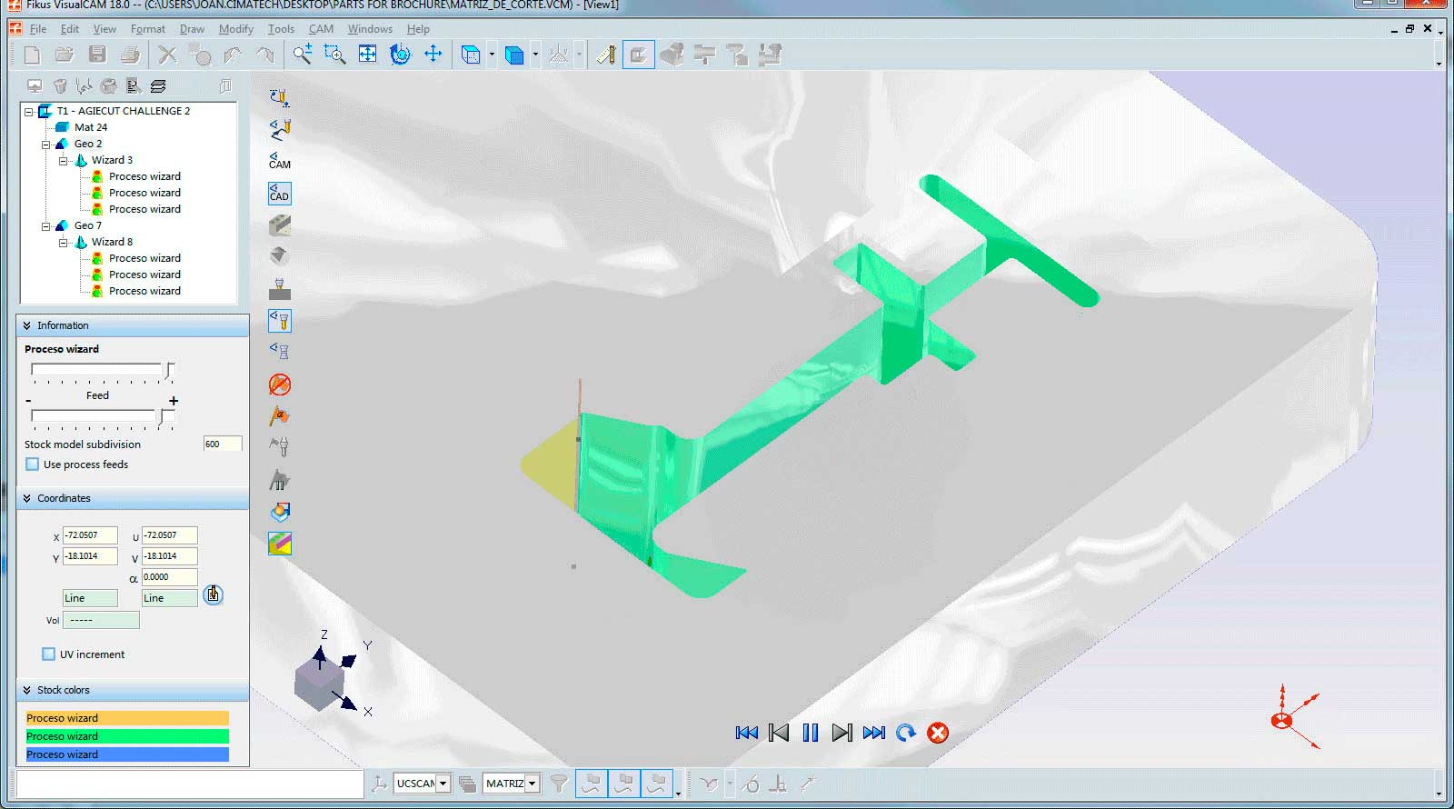 Wire cutting simulation